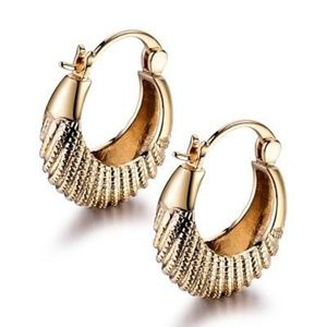 Jewelry - 18kt Gold Filled Big Dangle Omega Back Earrings